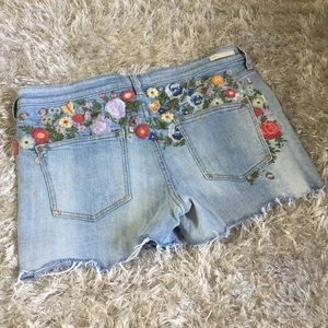 Pilcro Floral Embroidered Jean Shorts